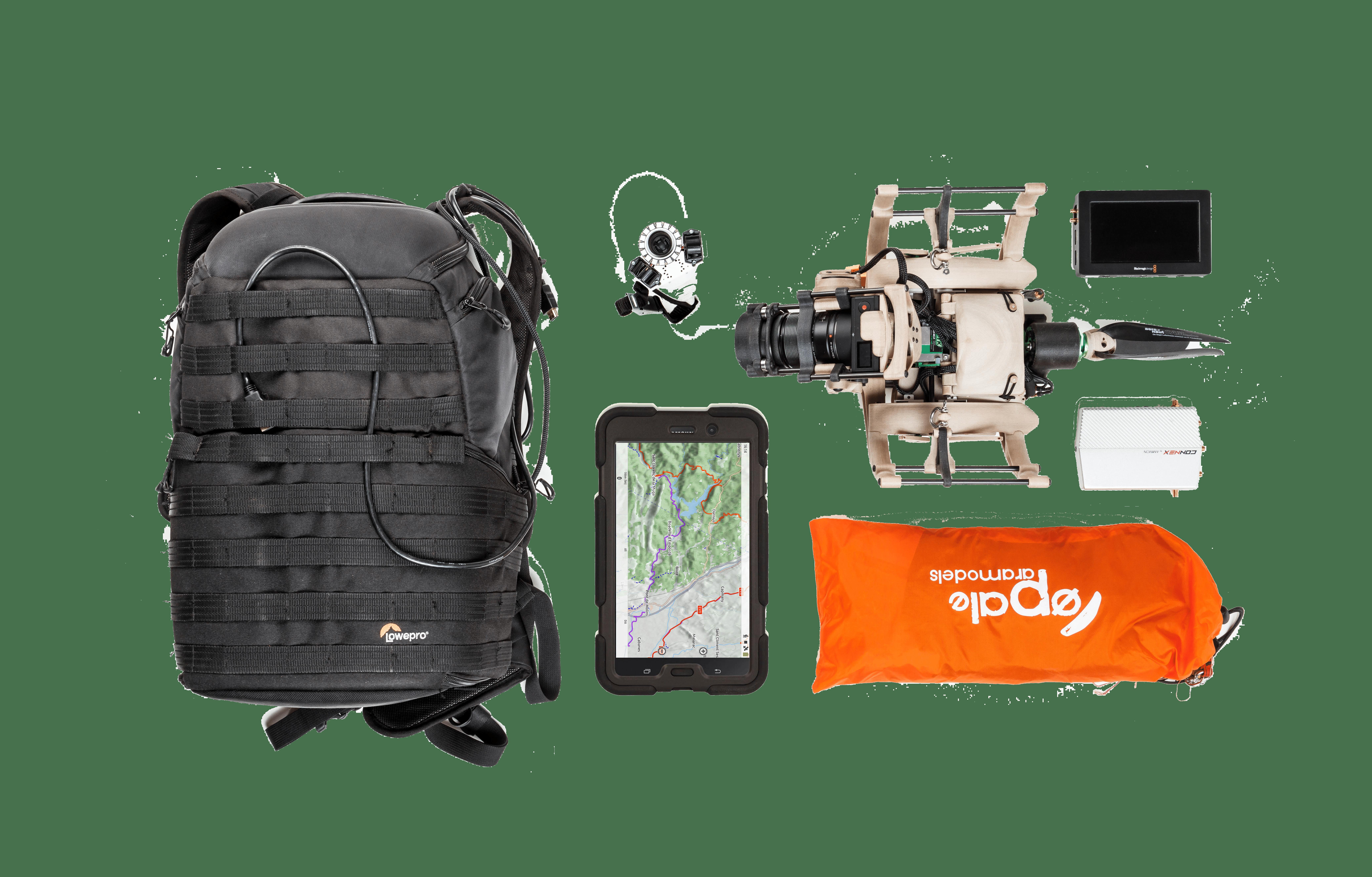 Equipement complet pour le transport et l'utilisation du drone Aube